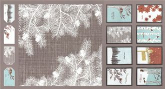 Moda Winters Lane  - 2752 -  Cushion and Bunting Panel on Taupe 13090-14 100% Cotton Fabric